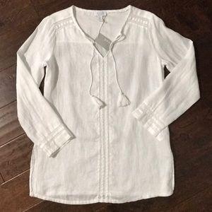 Tops - Kenar Linen Beach Shirt White Small Light Weight